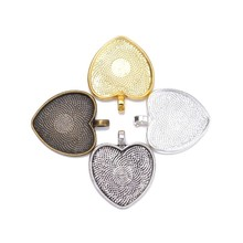 Buy 10pcs Heart Blank pendant tray bezel glass cabochon jewelry makings charm Bezel setting blanks for $2.67 in AliExpress store