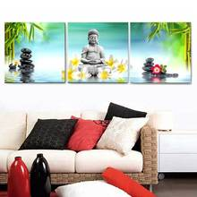 3 Panel Abstract Printed Hotoke Buddhism Buddha Oil Painting Picture Cuadros Decor Buda Canvas Art For Bed Room Framed Art W0116(China)