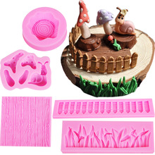 5PCS Fence Bark Texture Snail Mushroom Fondant Silicone Mold Cartoon Animal Candy Chocolate Mold Grass Cake Decorating Tool C171(China)