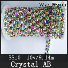 Top Quality SS10 10 Yards Silver Base Crystal AB Crystal Strass Rhinestone Cup Chain