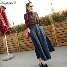 2017 New Casual Play Jeans Loose Denim Skirt Ankle-Length Top Quality Brand Jeans Skirt For Women Stylish Jean With Two Colors