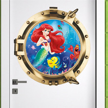Underwater Mermaid Submarine Fish Wall Stickers For Kids Rooms Bedroom Bathroom Art Cartoon wall decals Girls Bubble Room Decor