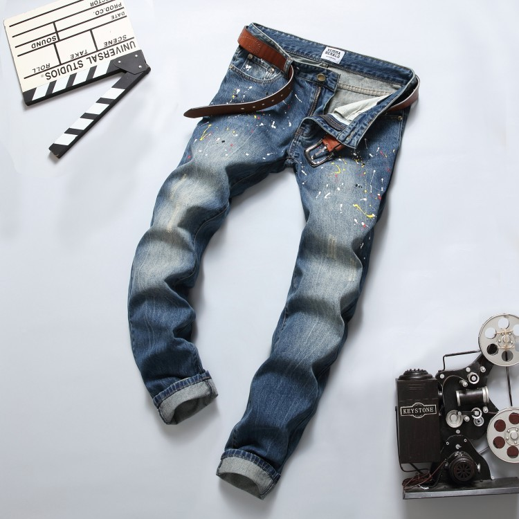 New Designer Dots Print Jeans Men,Character Ripped Patchwork Casual Mens Jeans Pants,100%Cotton Fashion Large Size 28-38Одежда и ак�е��уары<br><br><br>Aliexpress