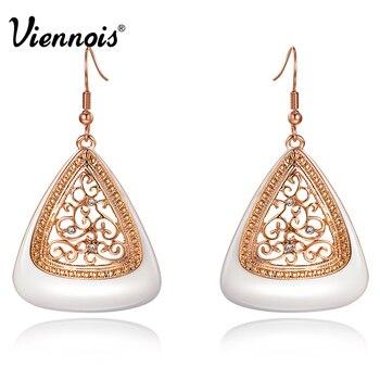Viennois nueva moda de oro rosa plateó los pendientes largos para las mujeres rhinestone flor del hueco de gota de esmalte pendientes de la joyería