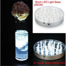 Tall Vases Centerpiece Mirrored Good Quality Round 8inch White Led Vase Light Base for Night Wedding Party Decoration(China)