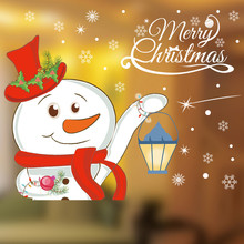 Hot Selling Christmas Snowman Removable Furniture christmas stickers in windows house bedroom decor accessories wall stickers(China)