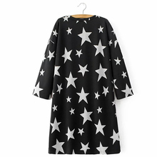 Fashion Spring Women Star Printed Black Dress Round Neck Long Sleeve  Casual Loose Dresses Plus Size DNJD6242