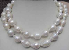 $wholesale_jewelry_wig$ free shipping HUGE 12-18MM NATURAL AAA SOUTH SEA WHITE BAROQUE PEARL NECKLACE 35 INCH AAA