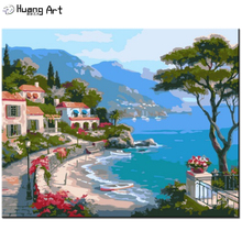 DIY Oil Painting By Numbers Handmade Mediterranean Painting Wall Picture for Home Decor Sea Building Landscape Acrylic Picture