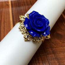 100 Pieces Dark Blue Rose Flower Decor Gold Napkin Rings Holder Hoops Romantic Nice Looking Weeding Party Table Decoration