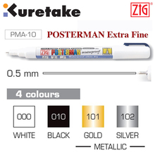 ZIG Posterman 0.5 mm Kuretake Metallic Waterproof Chalk Marker Pens Brush Pens PMA-10 Silver Gold Japan