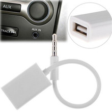 Car-styling 3.5mm Male AUX Audio Plug Jack To USB 2.0 Female Converter Cable Cord Car MP3
