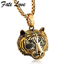 3Pcs/Lot 2017 Lion Tiger Necklace Men Hip Hop Jewelry Collares Collier Stainless Steel Necklaces Pendants Anime Mens Jewellery