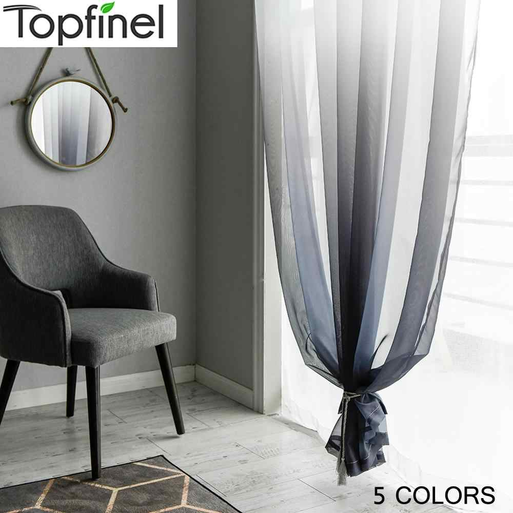 Topfinel Gradient Printed Tulle Transparent Curtains Living Room Bedroom Kitchen Home sheer curtains Decor Tulle at Window