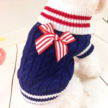 Navy Pet Dog Clothes Warm Sweater Puppy Coat Clothing Winter Outfit For Dog Chihuahua Clothes Dog Sweater Coat for Small Pet(China)