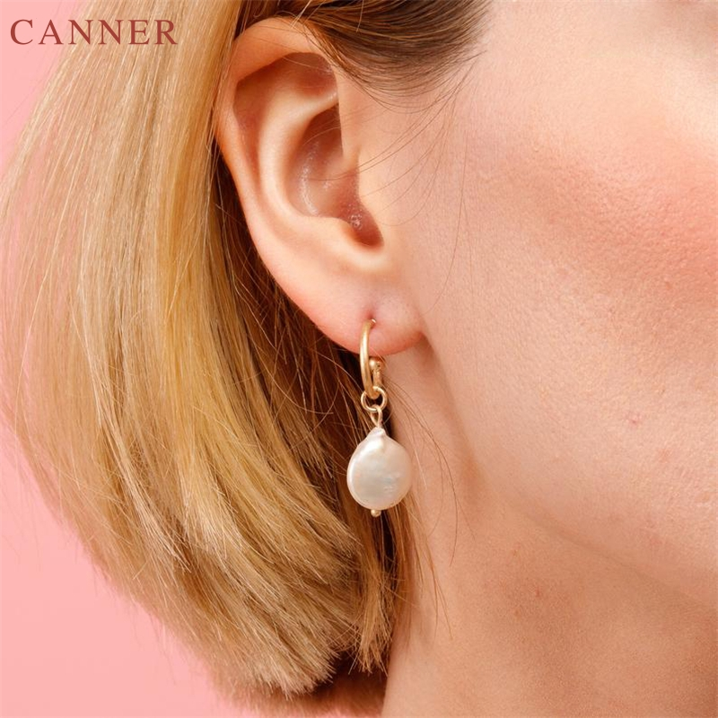 Korean Freshwater Pearl DangleEarrings for Women Gold Color Big Circle Drop Earrings 2019 Elegant Jewelry pendientes mujer C4