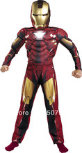 Children the avengers Iron man costume with musle .stretchy party clothes ,clothing for kid,3 sizes,4-12 ages D-1148