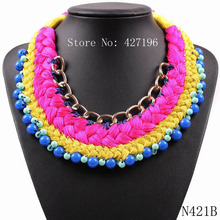 Gold Chain String Bead Braided Cheap 2017 New Arrival Design Chunky Choker Statement Necklace For Women Autumn USA Jewelry