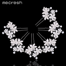 Mecresh 6Pcs/Lot Fashion Crystal Hairpins For Wedding Simulated Pearl Hair Pins Silver Color Floral Bridal Hair Clips MFS107
