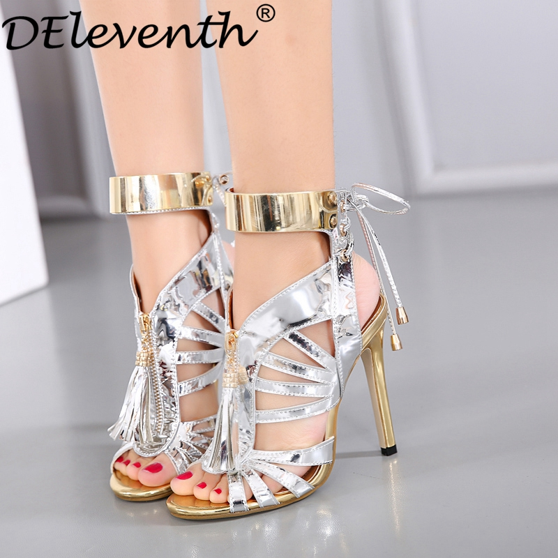 Hot Selling 2017 Summer Cut-outs Peep Toe Women Shoes Bling Sandals High Heels Tassels Cross Strap Shoes Evening Party Shoes <br><br>Aliexpress