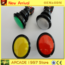 good qulity 10pcs/lot  45 mm black circle  Illuminated 12v  push button diy arcade part with microswitches and led light