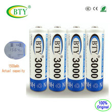 4-Pack BTY AA Battery 3000 Actual capacity 1500mAh Ni-MH Battery Rechargeable Batteries(China)