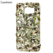 Laumans Rhinestone Bling Crystal Diamond Cases For Samsung Galaxy S6 edge Plastic Hard Cell Phone Back Cover for S3 S4 S5 S7EDGE(China)