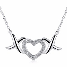 Angel wings sweet heart pendant lady sterling silver necklace give girlfriend's birthday gift 925 sterling silver accessories(China)