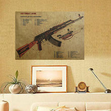 Pistola Rifle de Asalto AK47 Modificado Organigrama con La Estructura de Papel Kraft Cartel Art Decor Decoración cartel de papel