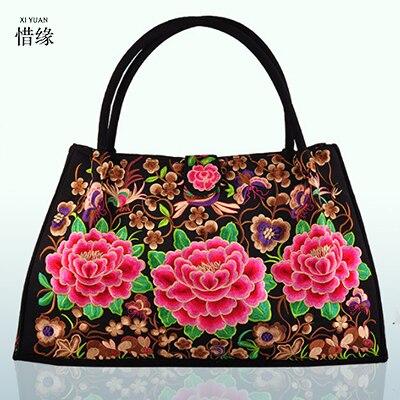 Women Handbag canvas Bag Vintage Lady Embroidered Ethnic Crossbody Hobo Bag Big Tote Travel Shoulder Bag National messenger bags<br>
