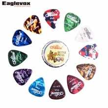 12pcs Celluloid Guitar Picks with one cute round metal box Acoustic Electric Guitarra Plectrums 0.46 0.71 0.81 mm Alice A011C