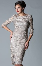 Wholesale Sexy Long Sleeves Knee Length Formal Dresses Lace Sheath Mother Of The Bride Dresses w041
