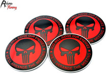 Rhino Tuning 4PC X 56.5mm The Punisher Badge Emblem Red Skull God Will Judge Our Enemles Car Wheel Center Sticker 431a(China)