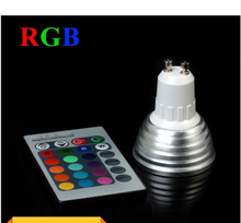 Wholesale 3W RGB LED Spotlight GU10 E27//E14/MR16 16 colour High Tech LED Lamp Spot light + IR remote control Free shipping