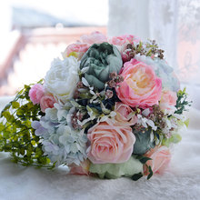 Dresstells 2017 Countryside Style Artificial Wedding Bouquets For Brides Lace Outside  Wedding Flowers Brooch Bouquet