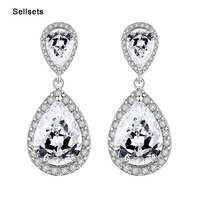 Luxury Excellent Cut Cubic Zircon Drop Earrings CZ Crystal  Jewelry  Bridal Wedding  Earrings For Women
