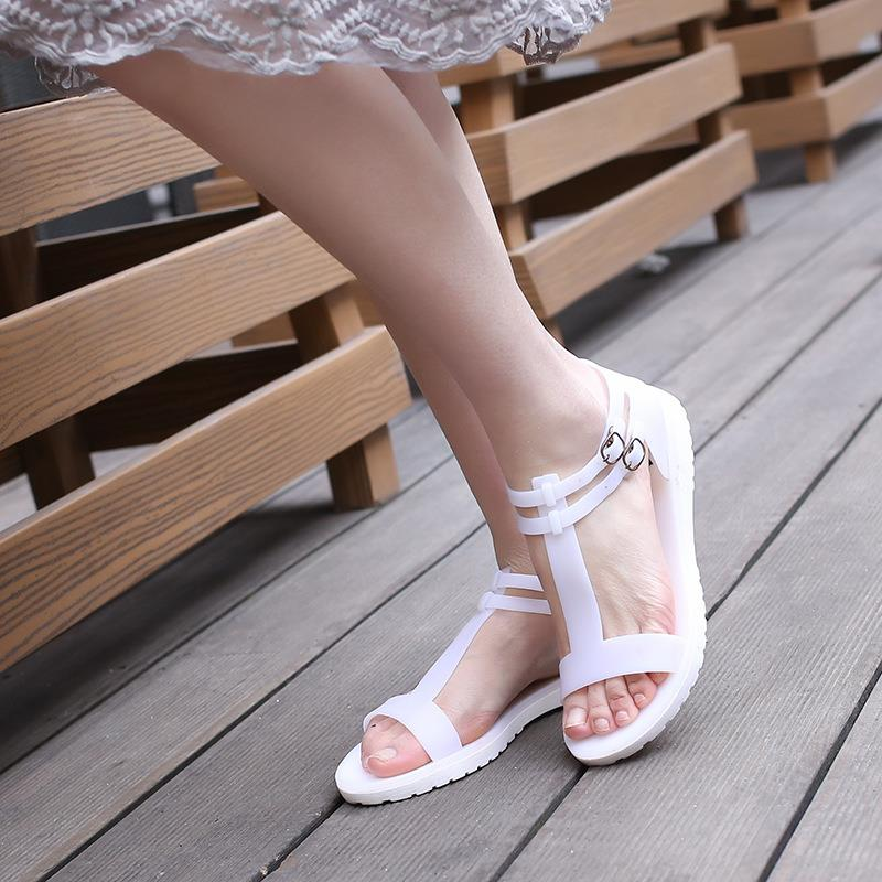 DreamShining Summer Fashion T-flat Beach Sandals Jelly Sandals Flat Shoes Breathable Rome Slipper  White / Black / Gray / Blue<br><br>Aliexpress