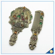 Antique Metal Enamel Handheld Mirror Set with Russia Castle Patterns(China)