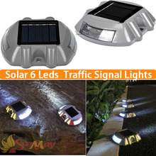 6LED Outdoor Solar aluminum spike traffic signal lights Villa Landscape solar drive lamp waterproof solar Road stud led lights