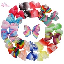 XIMA 7 inch Big Rainbow Hair Bows With Prong Alligator Clip Cute Boutique Ribbon Bows For Girls Hair Accessories