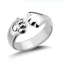 Crystal Cat Claw Rings for Ladies with Silver Plated as Christmas Gift For Women jewelry(China)