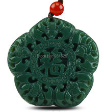 "Natural Real HeTian Jade Carved Chinese Character ""Fu"" Lucky Amulet pendants Green Jade Pendant Necklace Fashion Jewelry"