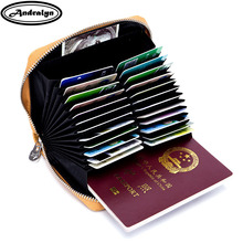 Buy Andralyn Split Leather 36 Card Slot Card Holder Credit Card Case Organizer passport Wallet Women RFID Blocking card Wallets for $13.93 in AliExpress store