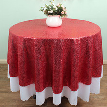 Diameter 50 Inches Round Red Sequin Tablecloth Wholesale Christmas Beautiful Sequin Table Cloth/Overlay/Cover