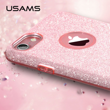 USAMS Bling series Crystal Rhinestone Case for iphone 7 plus case with high quality TPU ultrathin case for iPhone 7 case