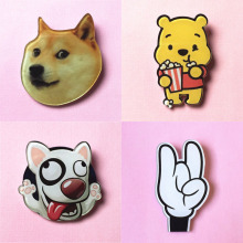 New Shirt Cute Harajuku Cartoon icons with pin Badge Acrylic crown girl perfume Fruit Animal mouse dog cat Broche Brooch BR0003