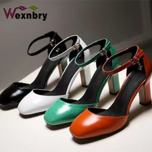 High thick heel sandals women's shoes genuine leather bag shallow mouth round toe summer black white green orange pump shoes