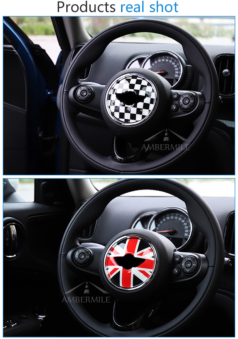 3D Car Steering Wheel Center Stickers Covers Interior Decorations for MINI Cooper JCW F55 F56 Accessories Car Styling (5)