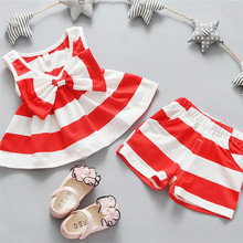 2PCS Toddler Kids Baby Girls Striped Dress Bow Shirt Tops+Shorts Pants Outfit Clothes Set 1T-5T