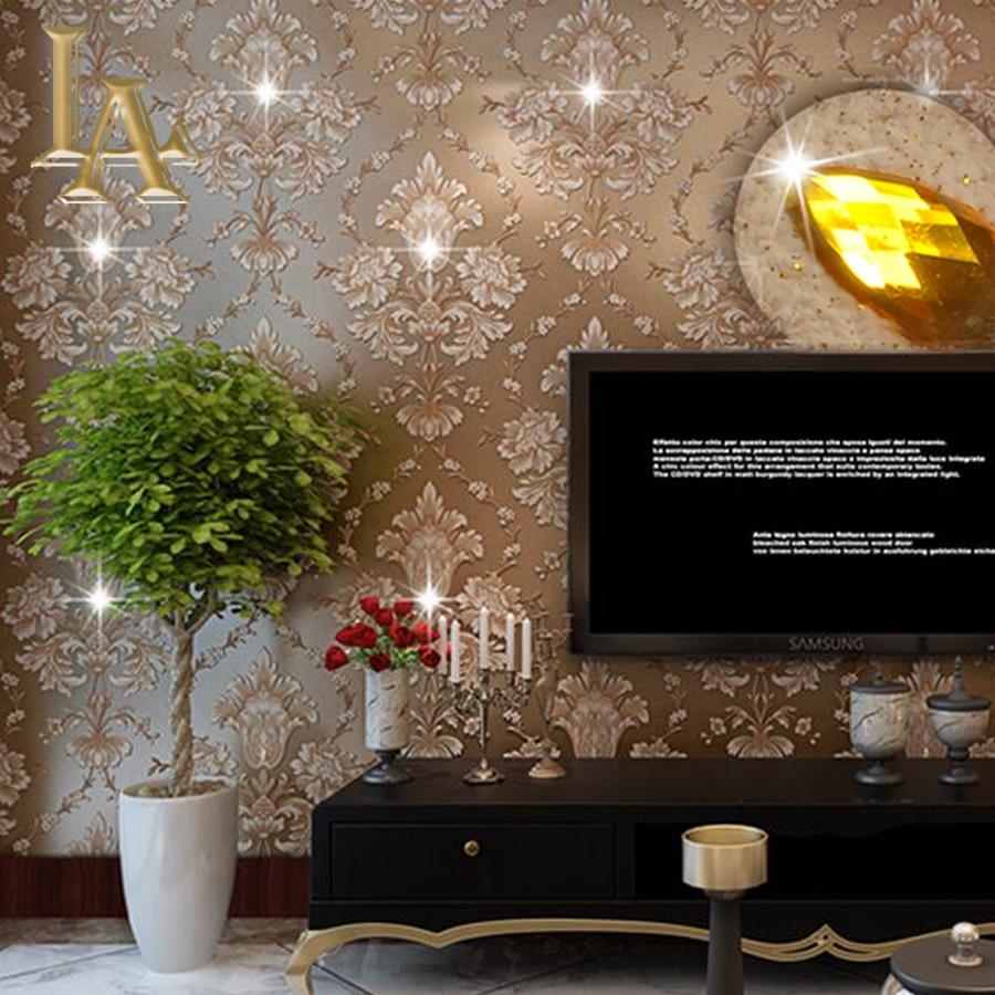 European Damask Diamond Wallpaper 3D Stereoscopic Modern Luxury Home Decor Living room Glitter Brown Wall paper Rolls W338<br><br>Aliexpress